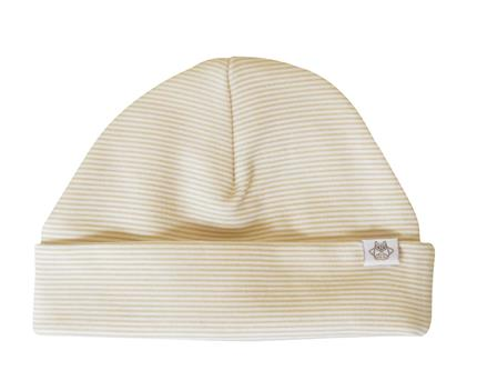 Beige cotton baby's hat. Made in the UK