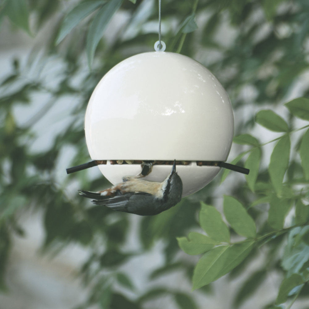 White clay bird feeder. Made in the UK