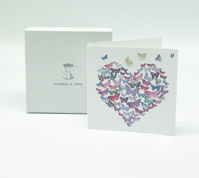Boxed Butterfly Heart Earring Card
