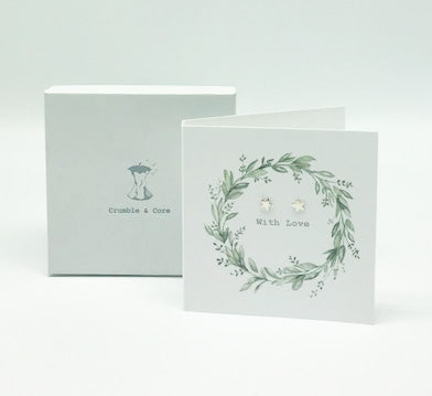 Boxed Eucalyptus Wreath Earring Card