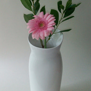 White ceramic flower vase. Made in the UK