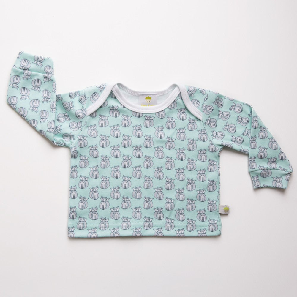 Cotton long sleeved blue baby top. Made in the UK