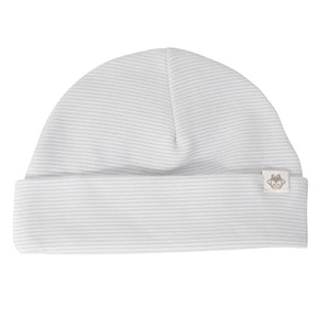 Grey stripe cotton baby hat. Unisex. Made in the UK