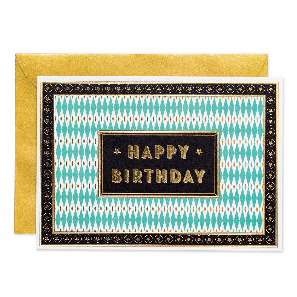 Art deco style Happy birthday greetings card. Made with sustainable paper. Made in the UK