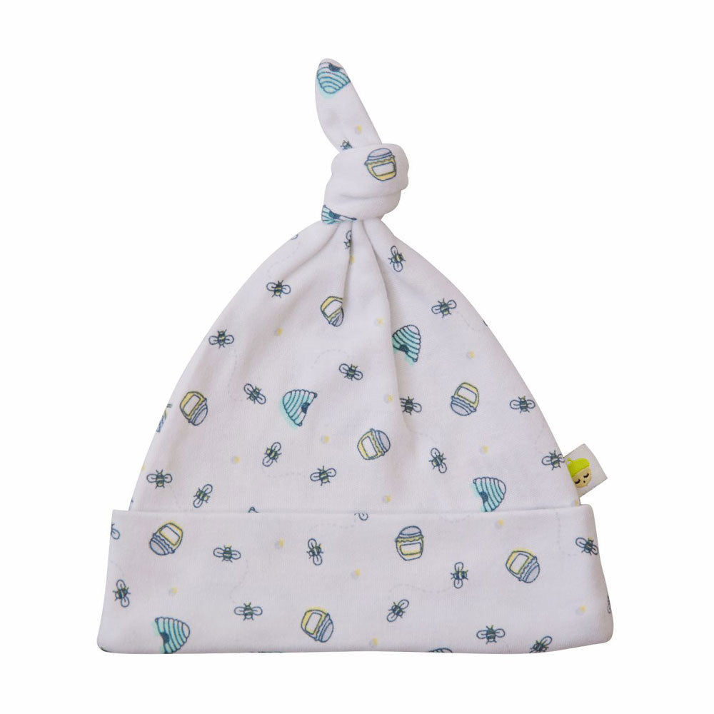 Unisex white cotton baby hat with honey bee design. Made in the UK