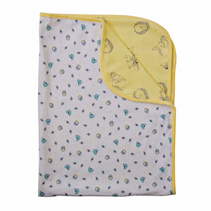 Unisex cotton reversible  baby blanket in white and yellow with honey bee and hedgehog design