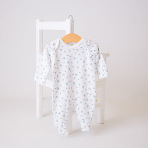 White cotton baby sleep suit with honey bee design. Made in the UK