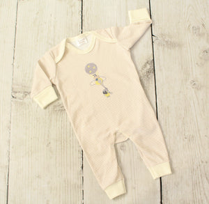 Unisex beige baby sleep suit with embroidered elephant and hot air balloon detail. Made in the UK