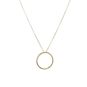 Gold Hammered Hoop Necklace