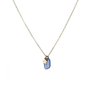 Blue Sea Glass and Gold Star Necklace