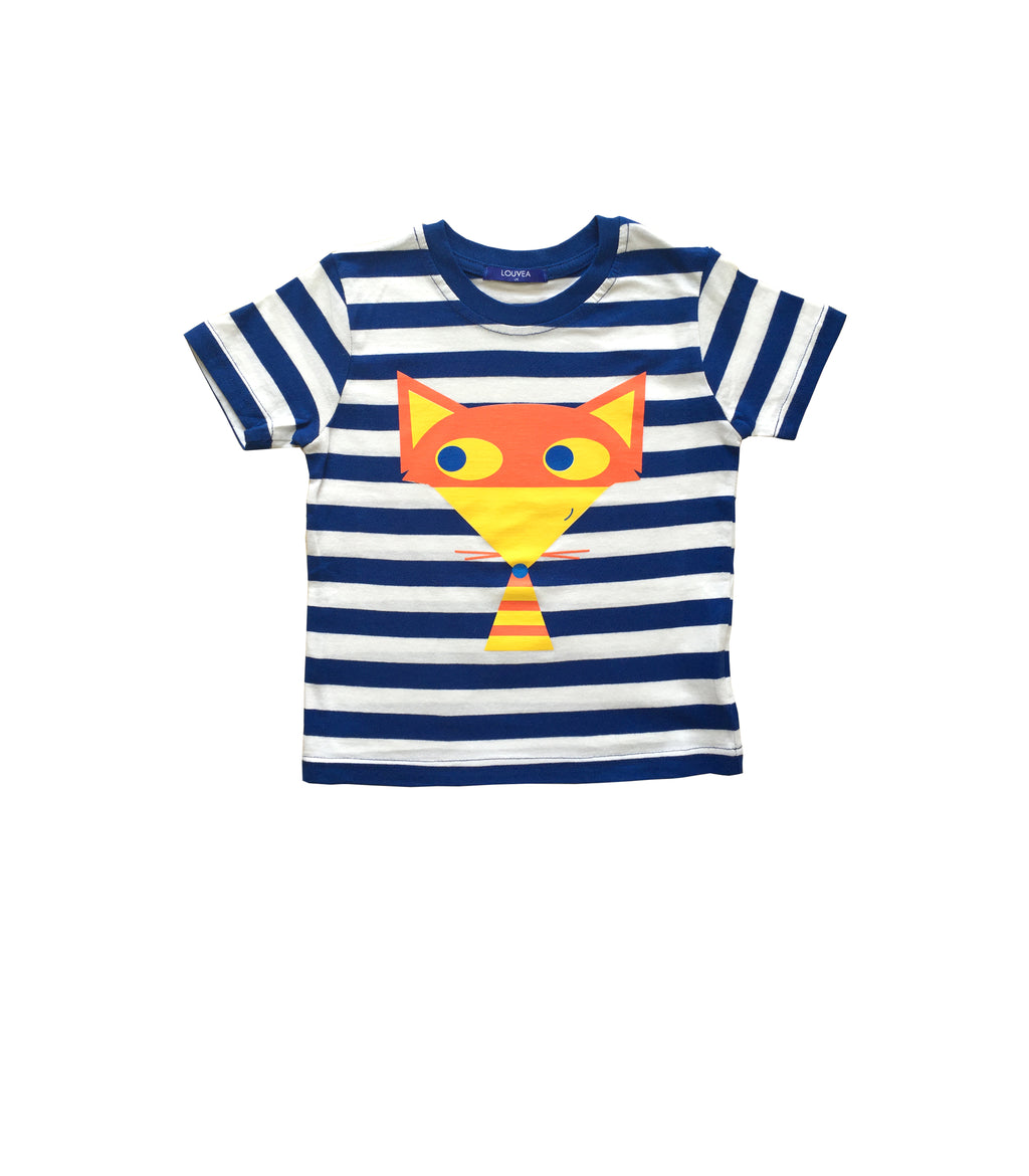Children's unisex navy and white stripe t-shirt with Fox print. Made in the UK