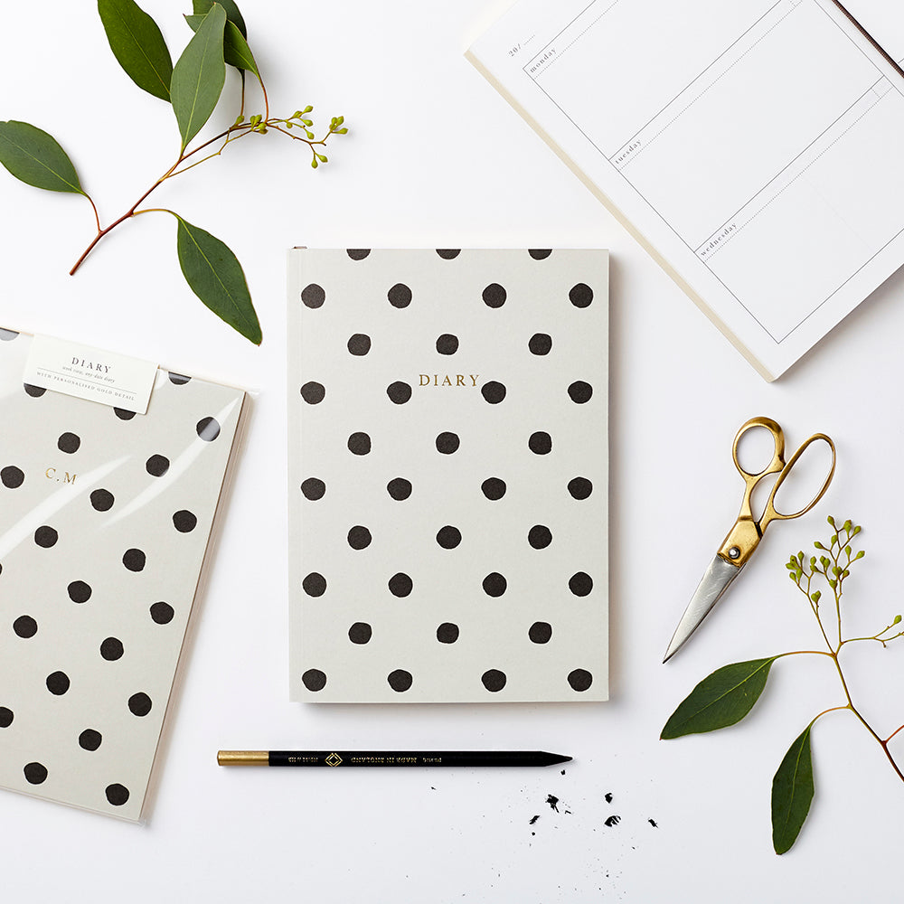Personalised any date diary with black polka to design. Made with sustainable paper. Made in the UK