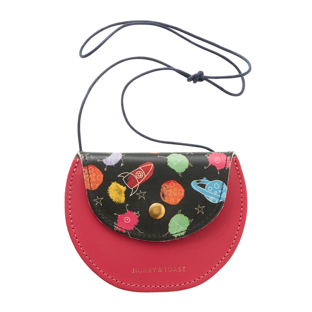 Girl's red leather cross body purse with space detail. Made in the UK