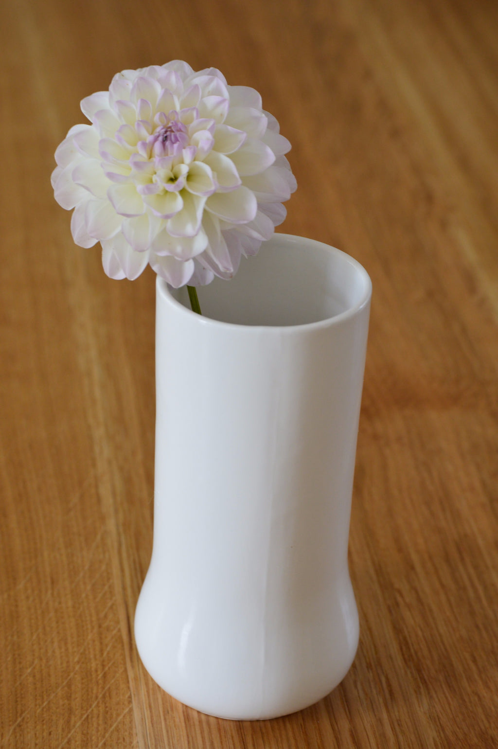 White ceramic flower vase. Handmade in the UK