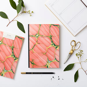 Pink spanish marble design personalised any date diary. Made in the UK. Sustainable paper.