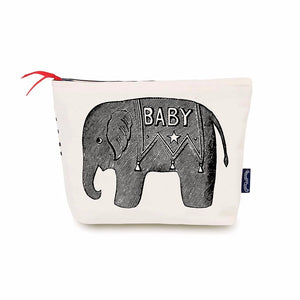 Cotton Canvas baby washbag with zip to carry items for your baby. Made in the UK