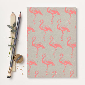 Notebook with pink flamingo print. Sustainable paper. Made in the UK