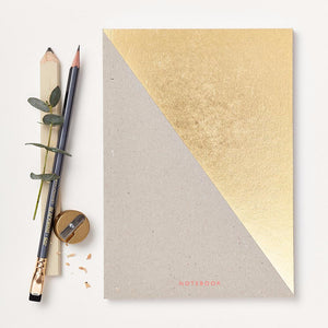 Notebook with gold foil detail. Sustainable paper. Made in the UK