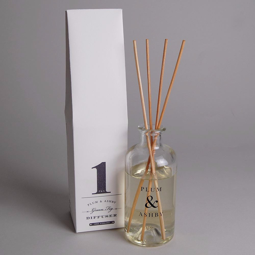 Green fig reed diffuser in glass bottle and vintage packaging. Made in the UK