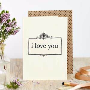 I Love You greetings card. Made on sustainable paper. Made in the UK