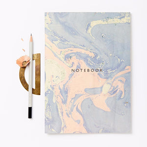 Marbled notebook made with sustainable paper. Made in the UK