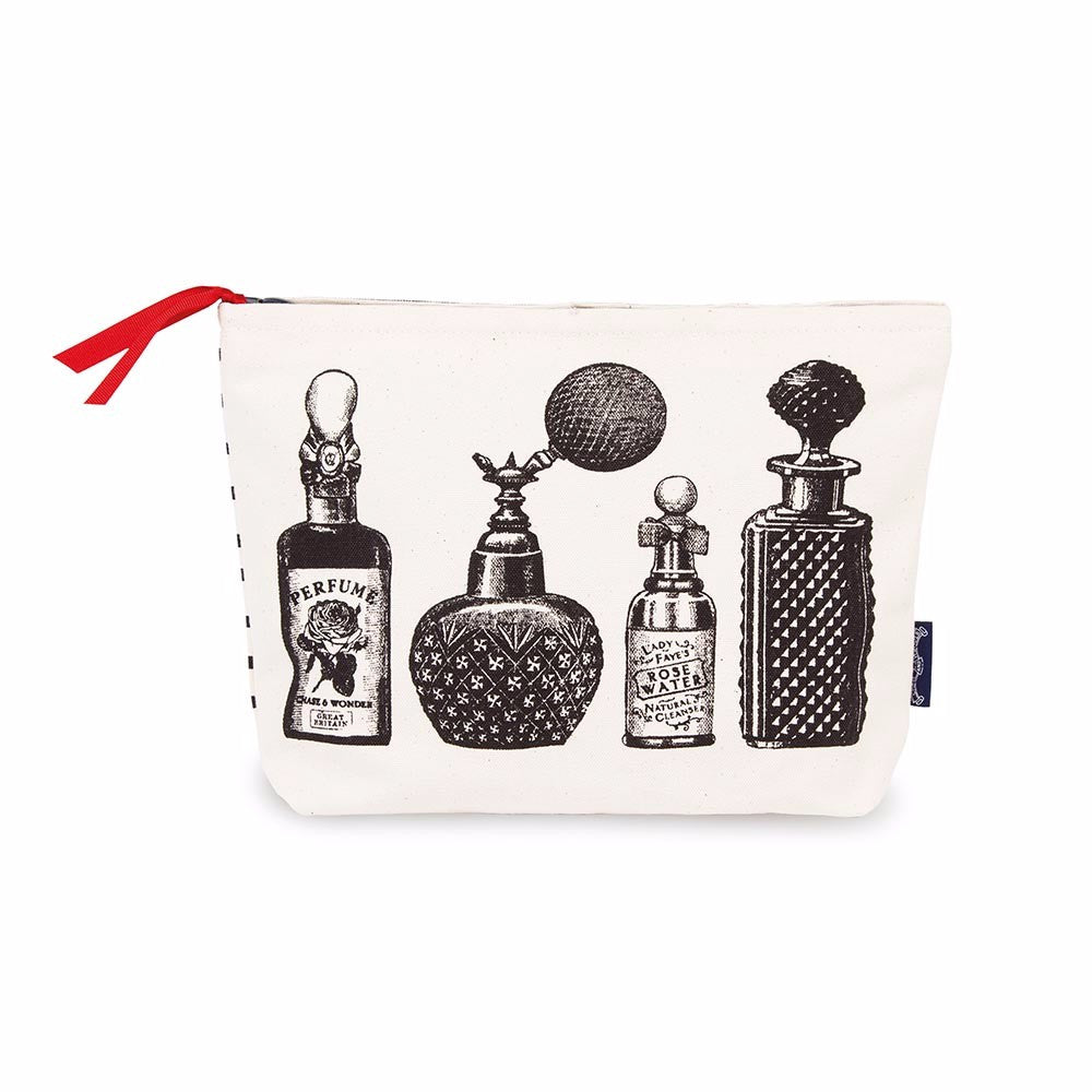 Cotton canvas ladies washbag with vintage bottle design. Made in the UK