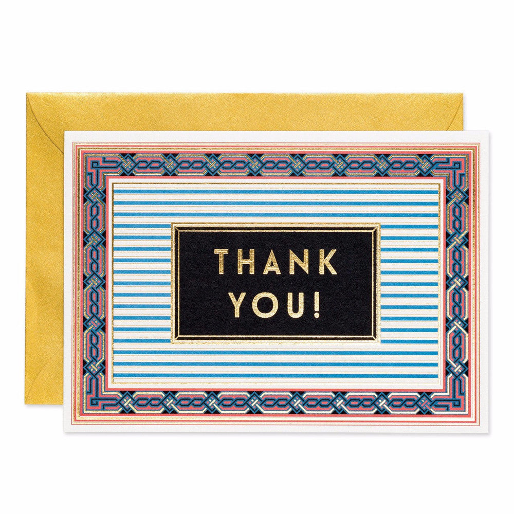 Art deco style Thank You greetings card. Made with sustainable card. Made in the UK