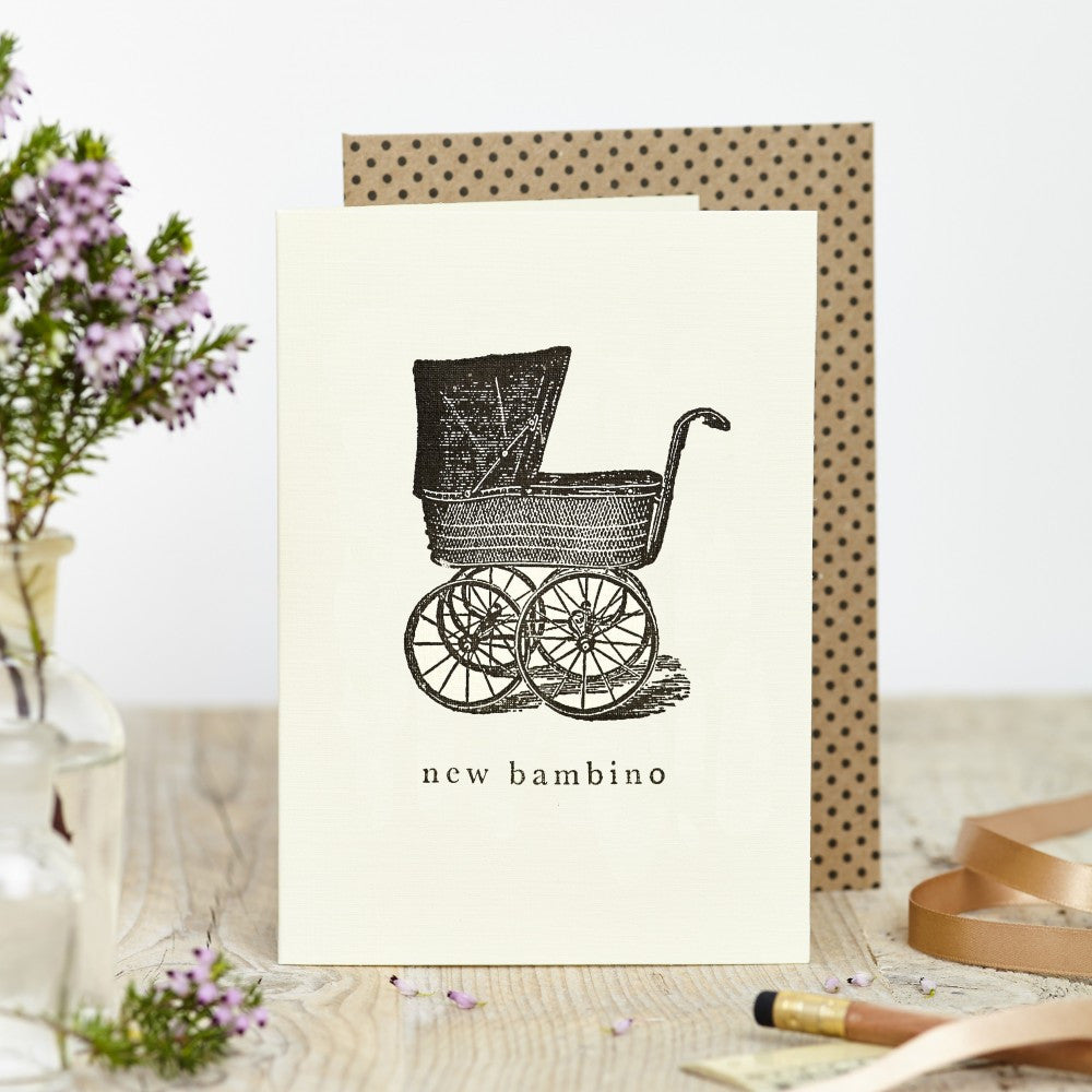 New baby greetings card with vintage pram design. Made in the UK. Made with sustainable card