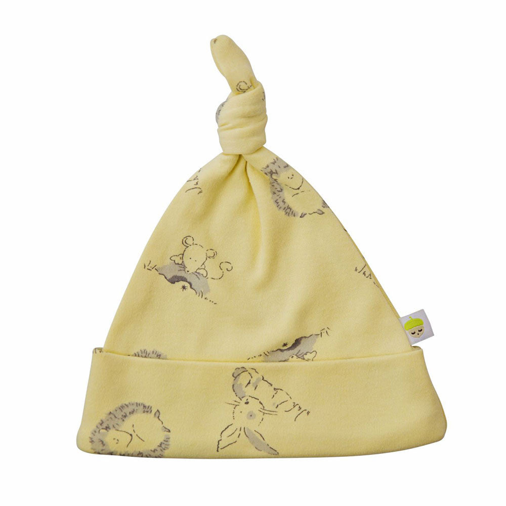 Yellow cotton baby hat with woodland animal print