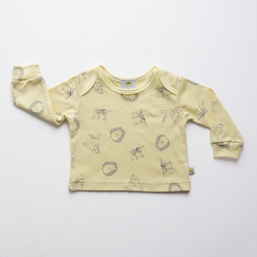 Yellow cotton long sleeved baby top with woodland animal design. Made in the UK