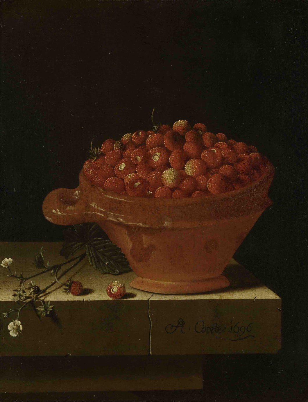 Adriaen Coorte, A Bowl of Strawberries on a Stone Plinth
