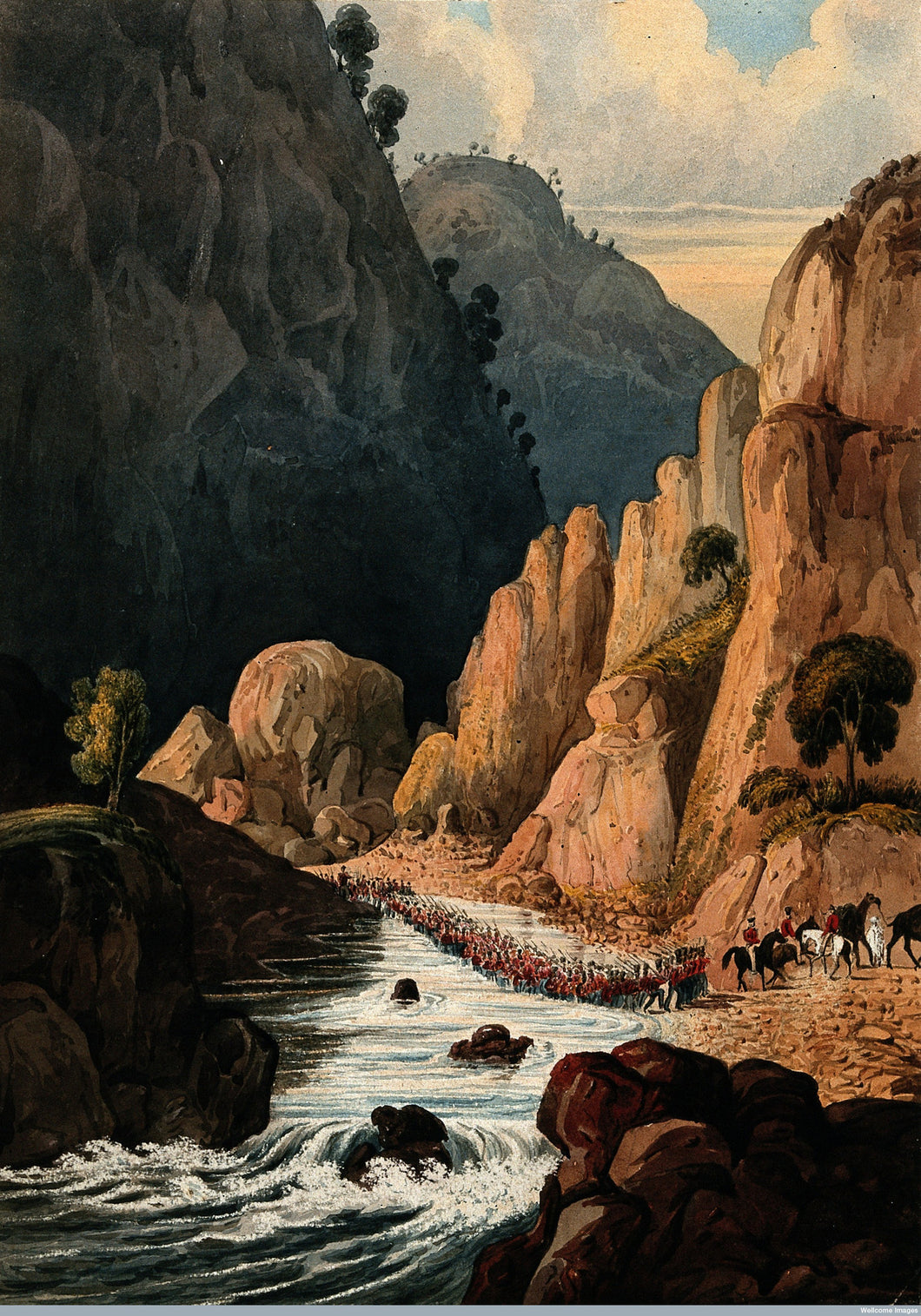 Cavalary Marching Through a River