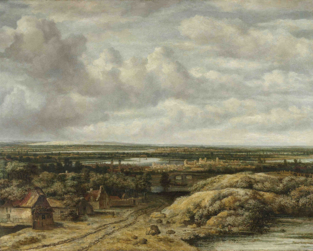 Philips Koninck, Distant View with Cottages along a Road