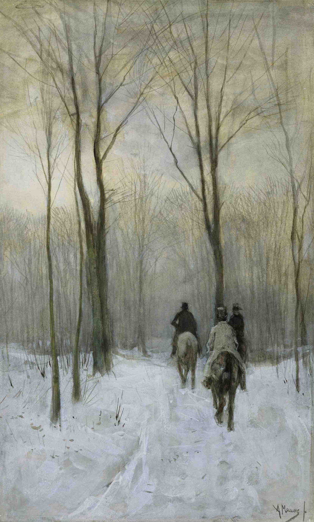 Anton Mauve, Riders in the Snow in the Haagse Bos