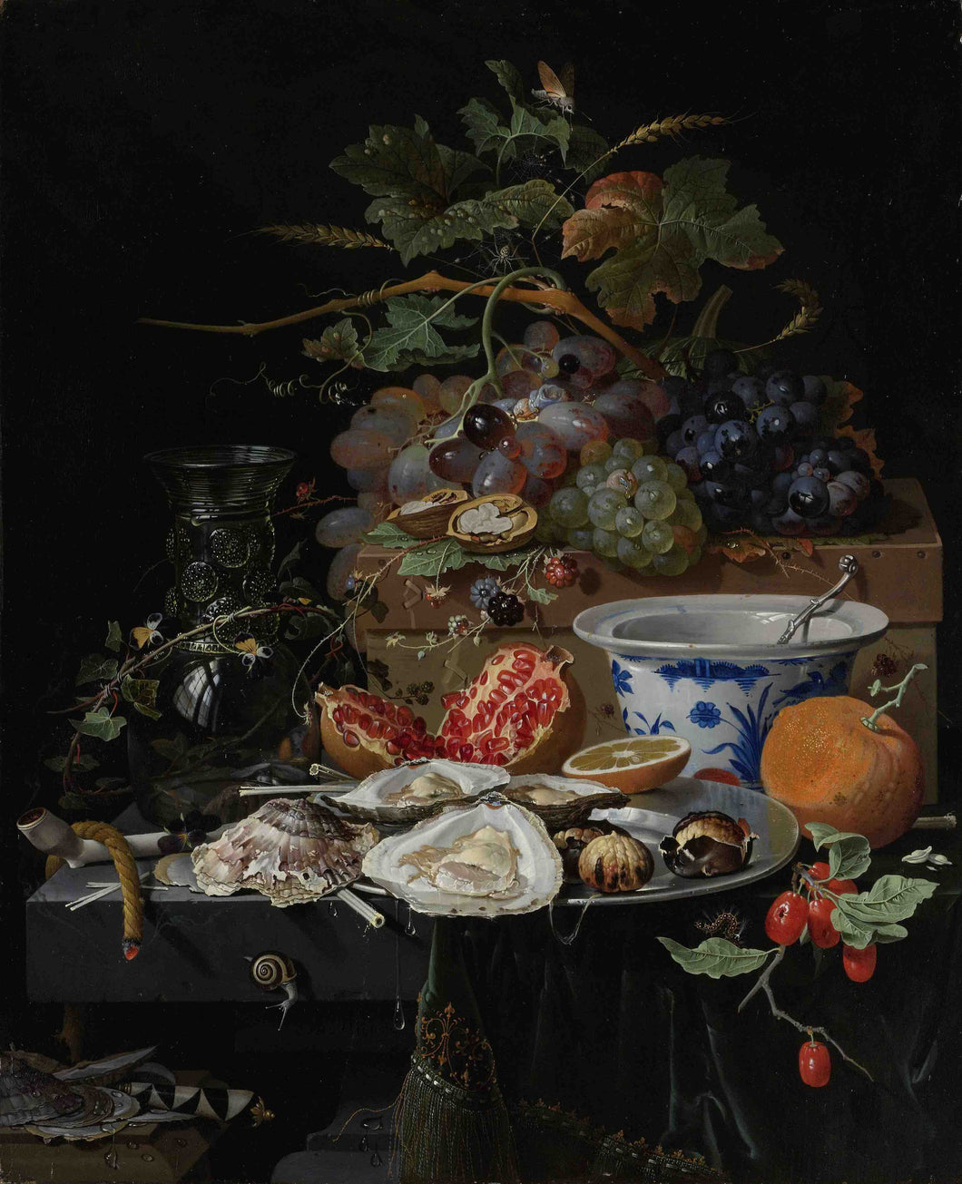 Abraham Mignon, Still Life with Fruit, Oysters, and a Porcelain Bowl