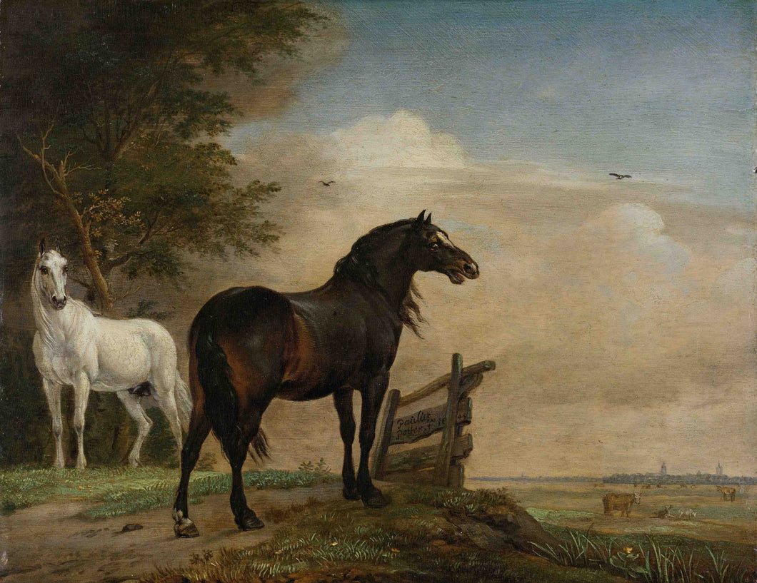 Paulus Potter, Two Horses in a Meadow near a Gate