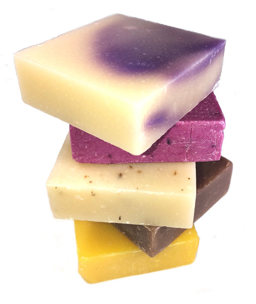 Stack of natural, handmade soaps from JoYo Beauty