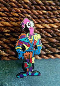 Areh Earthworm Jim Abstract Limited Edition Original Art Pin - The Mad Genius Store