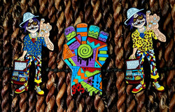 HST Bundle - Areh Gonzo Fist & Pair of Gorillaz 2D Psychedelic Hatpins - The Mad Genius Store