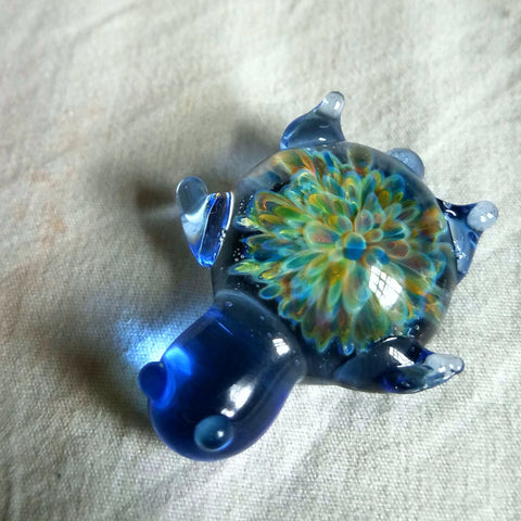 Blue Translucent Glass Turtle w/ Rainbow Flower Pull Unique Artwork Brim Pin - The Mad Genius Store