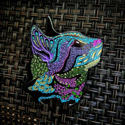 Aqua - Meow...? Psychedelic Cat Pin - The Mad Genius Store