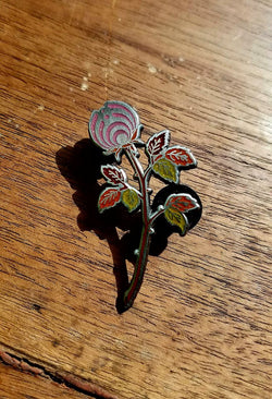 AE10 of The Pink Autumn Rosebud Nectar Flower Bassnectar Hat Pin - The Mad Genius Store