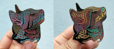Pair of Sunset/Night Meow...? Psychedelic Cat Pins - The Mad Genius Store