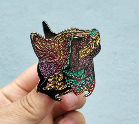 Sunset - Meow...? Psychedelic Cat Pin - The Mad Genius Store
