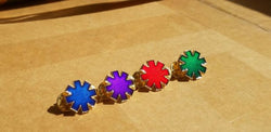 "Minis - The ""Asterisk"" Translucent Enamel Mini Hat Four Pin Set 