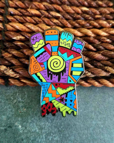 Areh Hunter S Thompson Gonzo Fist Abstract Limited Edition Original Art Pin - The Mad Genius Store