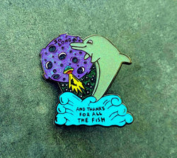 "Pins - Hitchhiker's Guide To The Galaxy V2 Glitter Robert Underwood 2"" Fanart Dolphin Hat Pin"