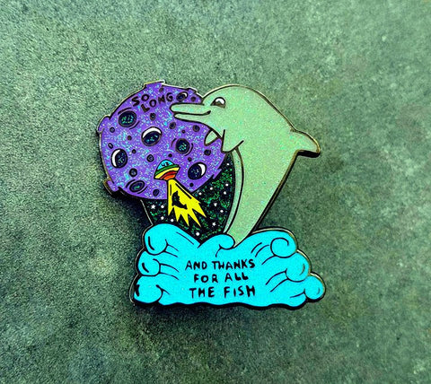 "Hitchhiker's Guide to the Galaxy V2 Glitter Robert Underwood 2"" Fanart Dolphin Hat Pin - The Mad Genius Store"