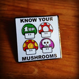 Know Your Mushrooms! - Super Mario Brothers Fan Hat Pin - The Mad Genius Store