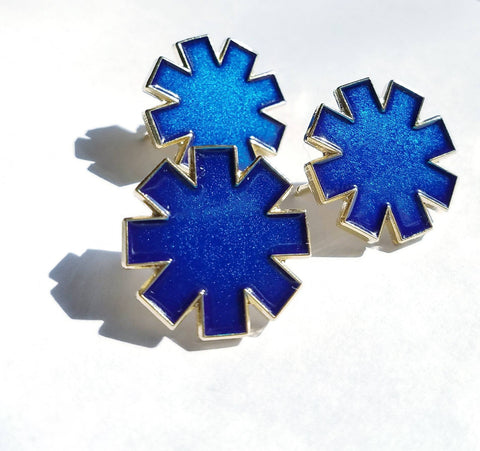 "Packs of the ""Asterisk"" in Blue Translucent Enamel 